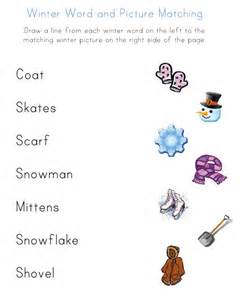View and print your winter word to picture matching worksheet