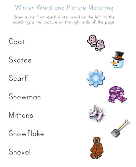 Winter Worksheets by Homeschool Parent Winter Word To Picture Matching