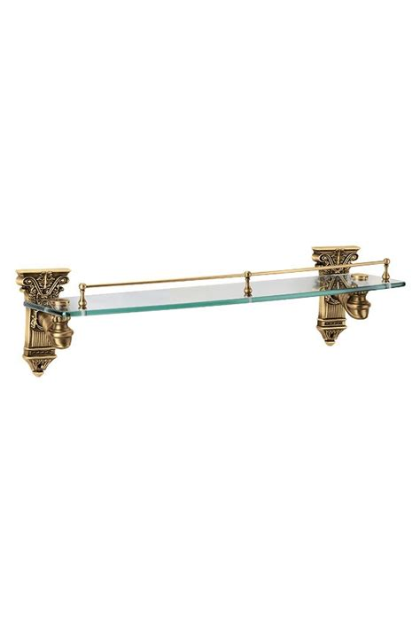 Heritage Bathroom Accessories Golden Locks Bath Glass Shelves Shelf Rack Antique Brass Colonial Gold Plated Bathroom