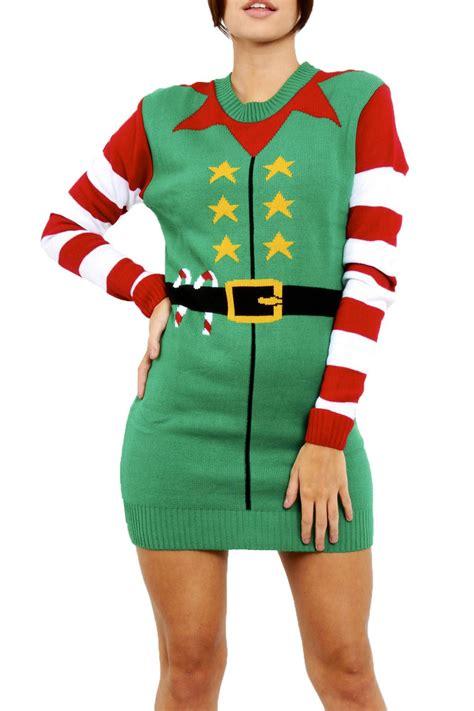 womens pattern christmas jumper womens ladies xmas elf costume christmas knit jumper mini