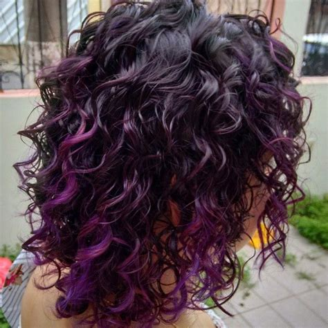 hairstyle ideas for highlights or streaks with wavy hair purple tipped curls curls pinterest my hair the
