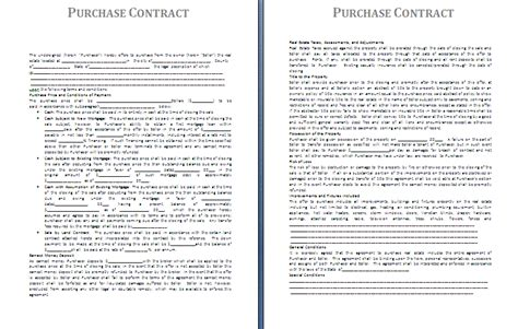 purchase contract template purchase contract template free contract templates