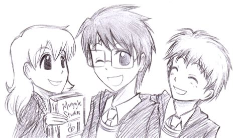 doodle harry potter doodle harry potter trio by cherlye on deviantart