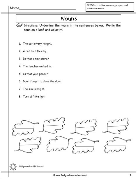 Nouns Worksheet by Noun Worksheet 1st Grade Boxfirepress