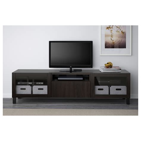 besta tv best 197 tv bench lappviken sindvik black brown clear glass