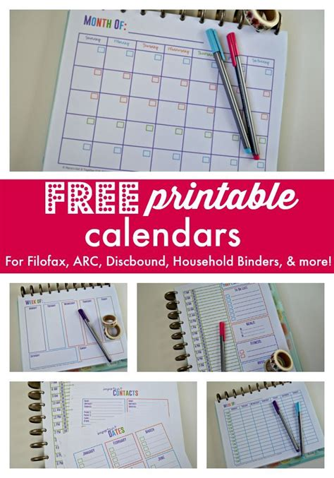 printable arc planner pages download these free printable calendars for your filofax