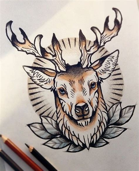 new school deer tattoo traditional colorful new school deer tattoo design