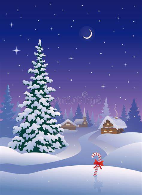 christmas village vertical stock vector illustration  covered