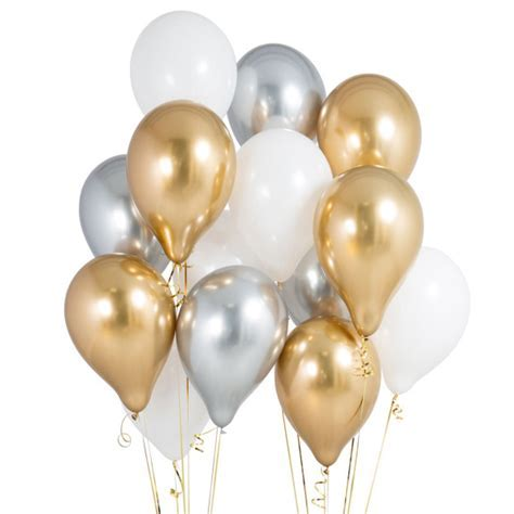 Pack of 14 Gold & Silver Party Balloons   Anniversary
