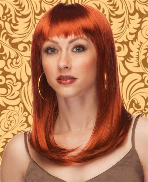 auburn wig with bangs alluring shoulder length wig with full bangs in auburn red