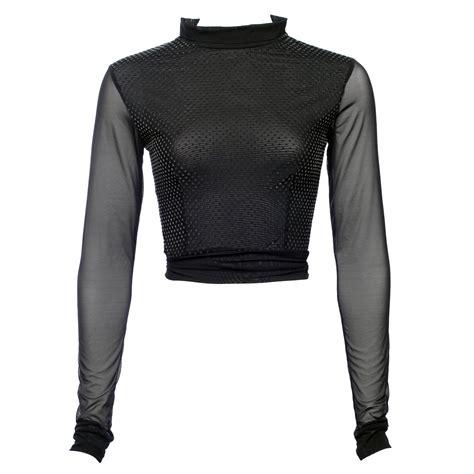 Black Mesh Long Sleeve Crop Top With Silver Velvet Polka Black Sleeve
