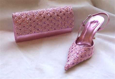 pink sequined shoes matching clutch bag
