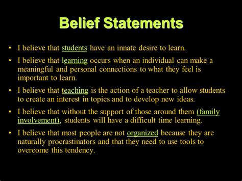Beliefs About Teaching And Learning Essay by Personal Belief Statements Research Paper Academic Service