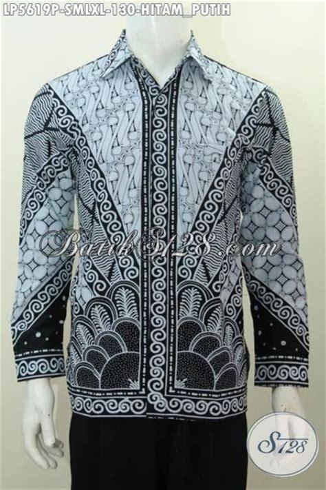 Kemeja Pria Spark Lp Putih kemeja batik klasik proses printing warna hitam putih baju batik elegan untuk pria muda dan