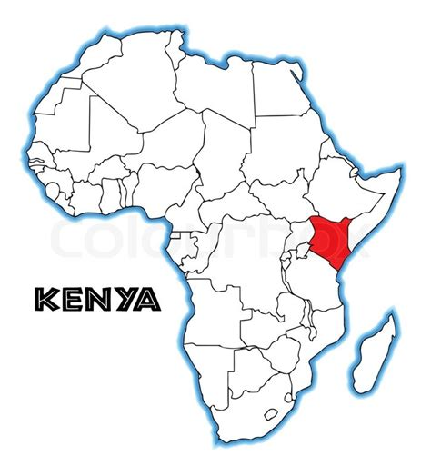 africa map kenya kenya outline inset into a map of africa a white