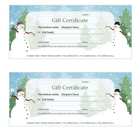 christmas gift certificate templates download free