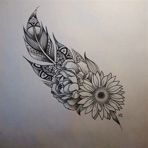 pinterest tattoo feather bonus feathers and flowers and all the pretty things