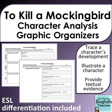 To Kill A Mockingbird Theme Graphic Organizer | to kill a mockingbird character analysis graphic organizers