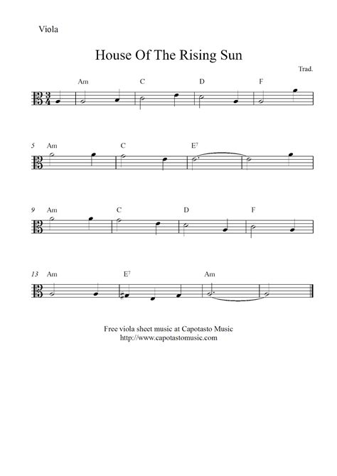 sheet music house of the rising sun free easy viola sheet music house of the rising sun