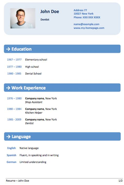 modern cv format in ms word 2007 cv template word cv