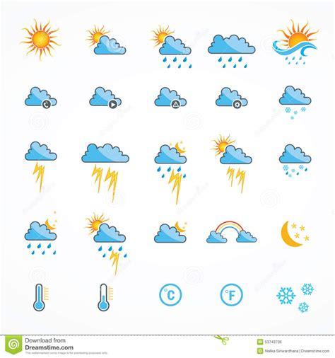 weather color color weather icons stock vector image 53743706