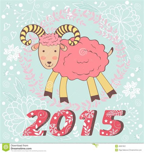 new year goat cards concept 2015 new years card with goat stock vector
