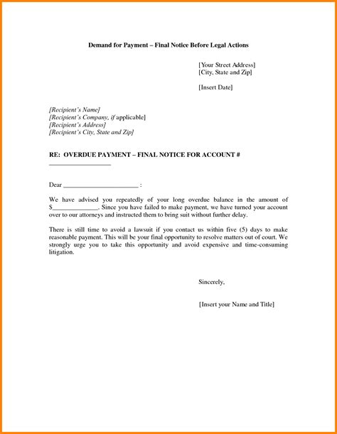 outstanding invoice letter template new demand payment
