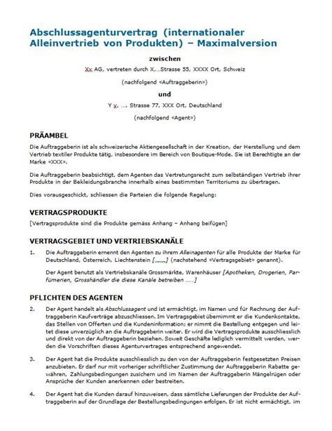 Muster Rechnung Deutschland Schweiz Agenturvertrag Rechtssicheres Muster Zum