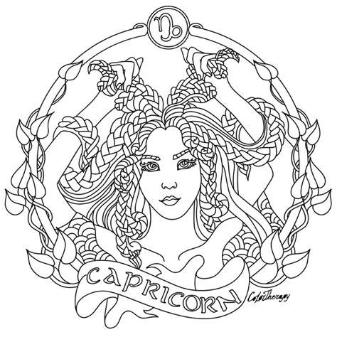 capricorn color capricorn zodiac colouring page coloring page