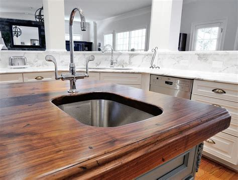 Gorgeous White Marble and Distressed Wood Countertop