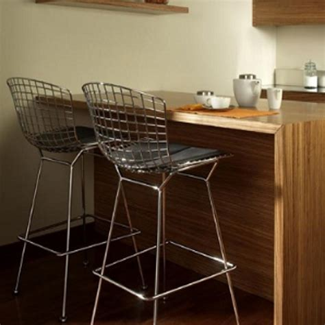 Modern Kitchen Island Table wire bar stool harry bertoia inspired chrome with white