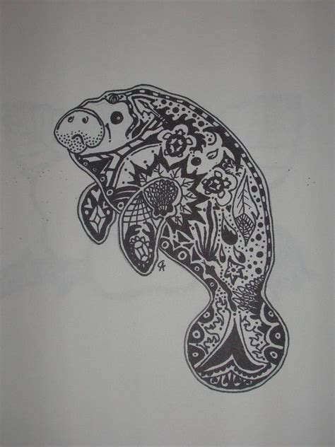 manatee tattoo manatee zentangle sealife drawings sleeve