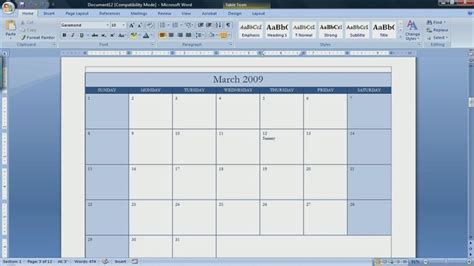 calendar template for word 2007 how to make a calendar in microsoft word 2007 ehow