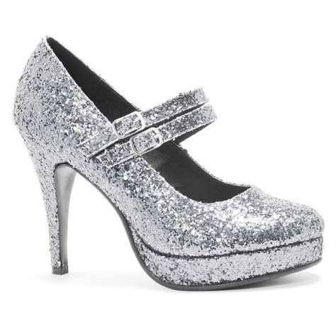 glitter high heel silver shoes costume craze