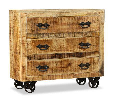 credenze legno grezzo vidaxl credenza con 3 cassetti in legno grezzo di mango