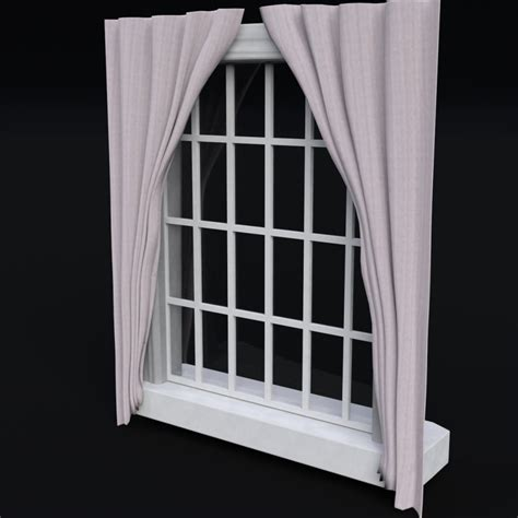 curtain frame window with frame and curtains 3d model cgstudio