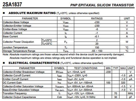 2sa1837 datasheet pdf unisonic technologies
