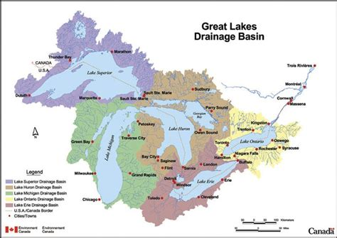 us map states great lakes a map of the great lakes drainage basin showing major