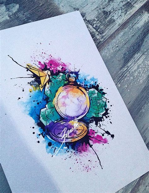tattoo bird pocket watch origami watercolor abstract
