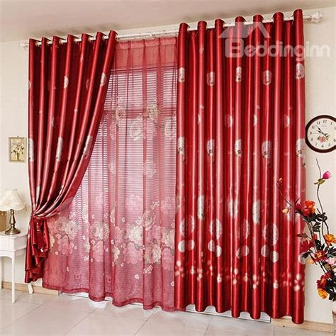 bright sheer curtains bright red dandelion print blackout grommet top curtain