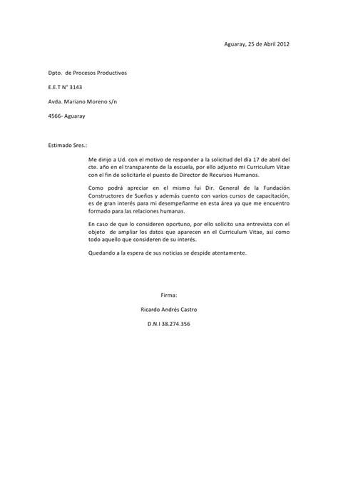 Modelo Carta De Presentacion Curriculum General Carta De Presentacion Castro R F A T