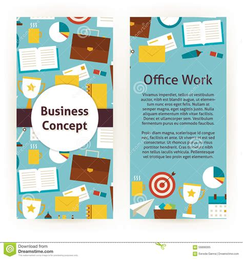 Vector Flyer Template Of Flat Design Business Concept And Office Stock Vector Illustration Of Work Flyer Template