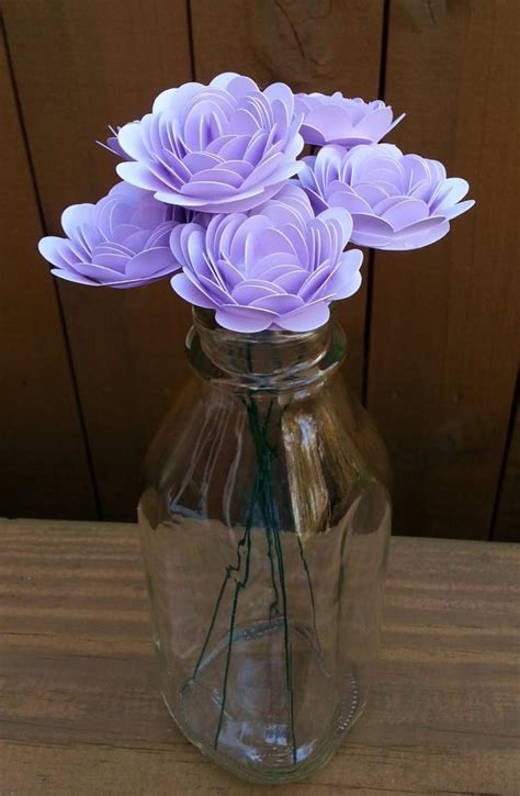 Handmade Paper Flower Bouquet - paper flower bouquet 6 small lavender purple mums