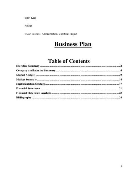 Mba Capstone Business Plan by Business Plan Capstone Project King