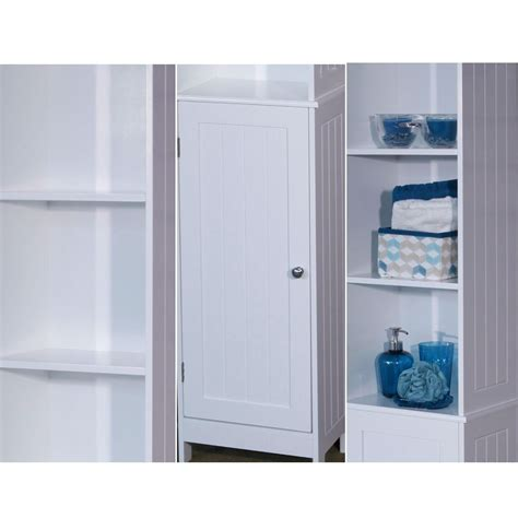 white wooden bathroom storage cabinet freestanding
