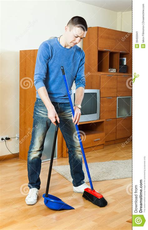 sweeping the living room stock photo cartoondealer