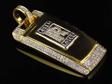 mens solid 10k yellow gold rolls royce key pendant