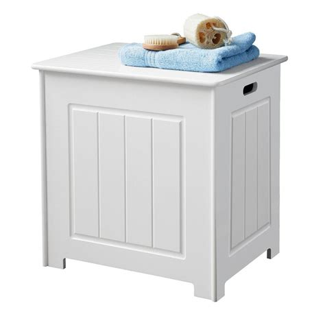 new white wooden bathroom laundry storage box linen