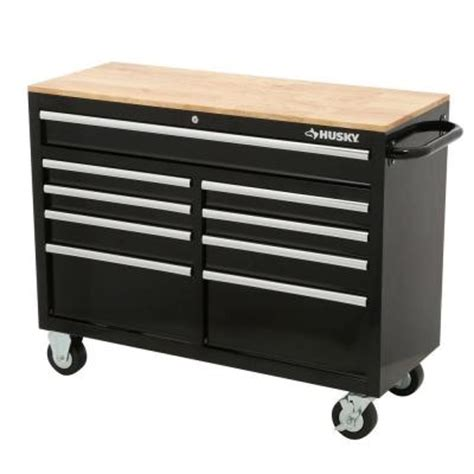 husky bench husky 46 in 9 drawer black out mobile workbench with