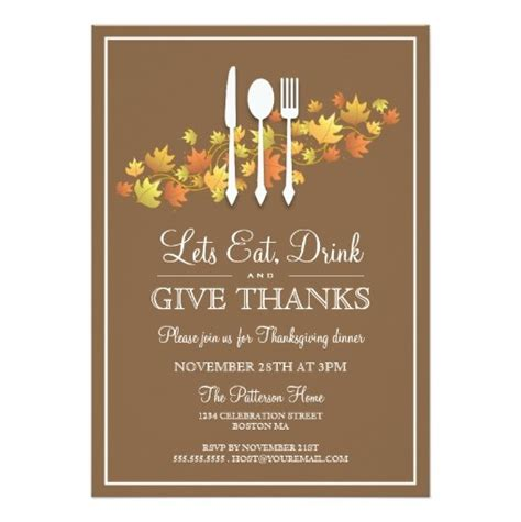 dinner thank you card template eat drink give thanks thanksgiving dinner